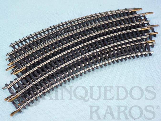 Brinquedo antigo Trilho curvo 0225 diâmetro 72,00 cm com 220,00 mm de comprimento Década de 1970 Preço por 10 unidades