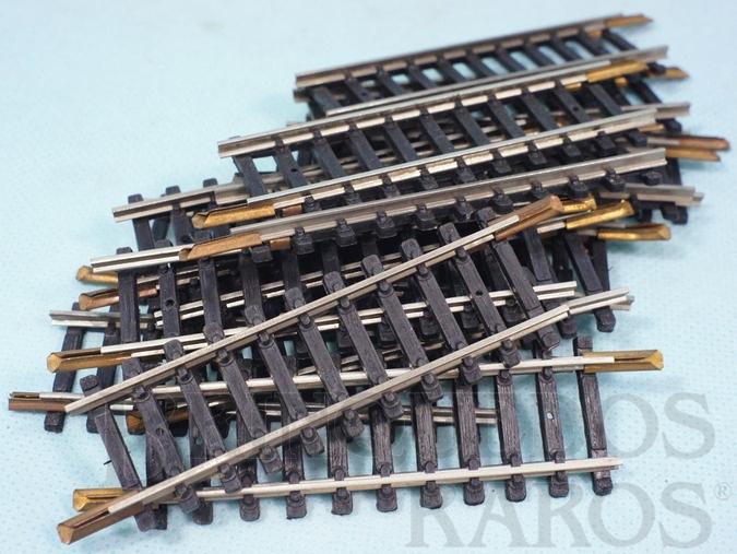 Brinquedo antigo Trilho reto 0227 com 82,5 mm de comprimento Década de 1970 Preço por 10 unidades