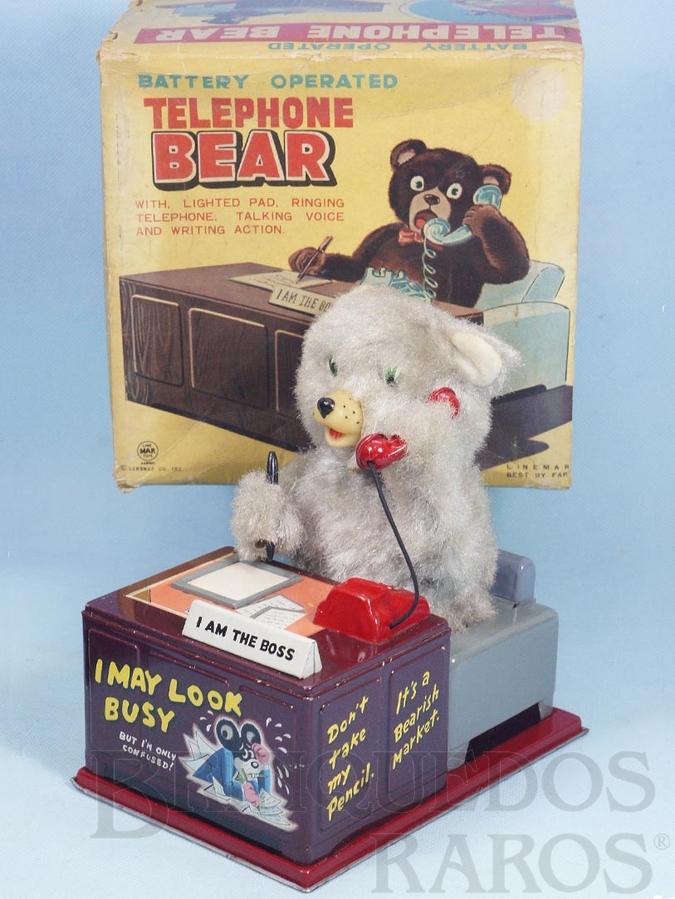 Brinquedo antigo Urso atendendo telefone Telephone Bear com 23,00 Cm de altura Década de 1960