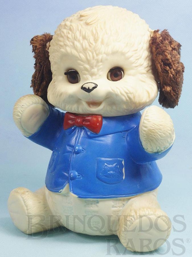 Brinquedo antigo Urso Pançudo com 24,00 cm de altura Olhos de dormir Orelhas de Pelúcia e apito Ano 1963