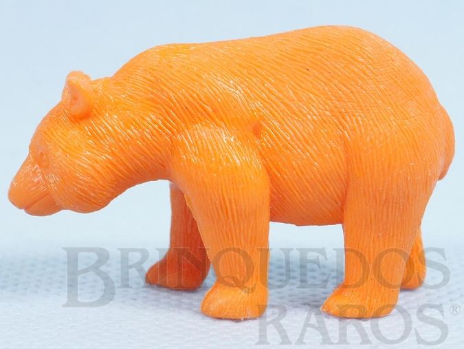 Brinquedo antigo Urso Panda de plástico laranja Série Zoológico Década de 1970
