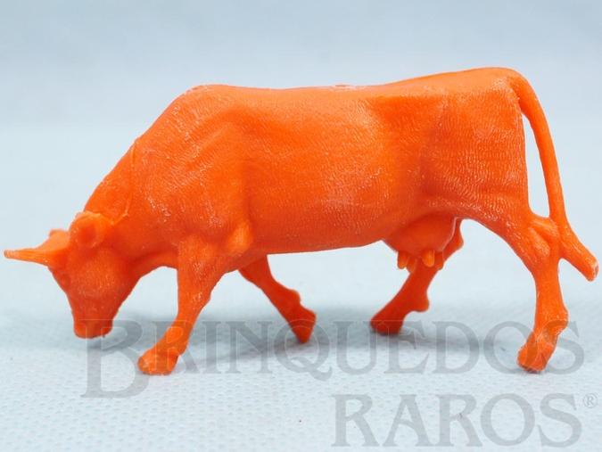 Brinquedo antigo Vaca de plástico laranja Fazenda Chaparral Década de 1970
