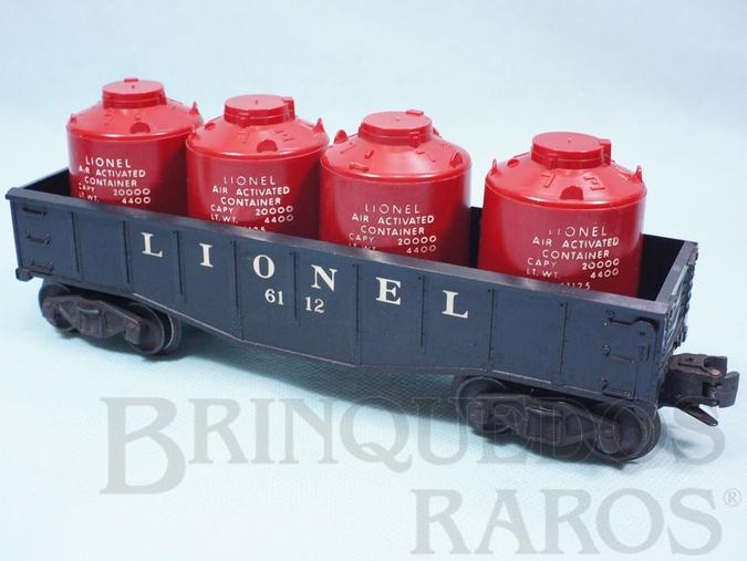 Brinquedo antigo Vagão 6112 Gondola Lionel black with four Air Activated Container Ano 1957