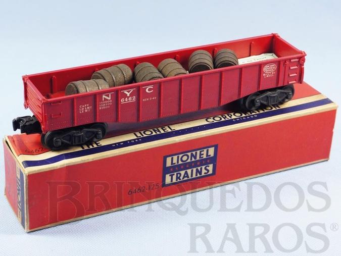 Brinquedo antigo Vagão 6462 New York Central NYC Gondola com 6 barris de madeira Ano 1955