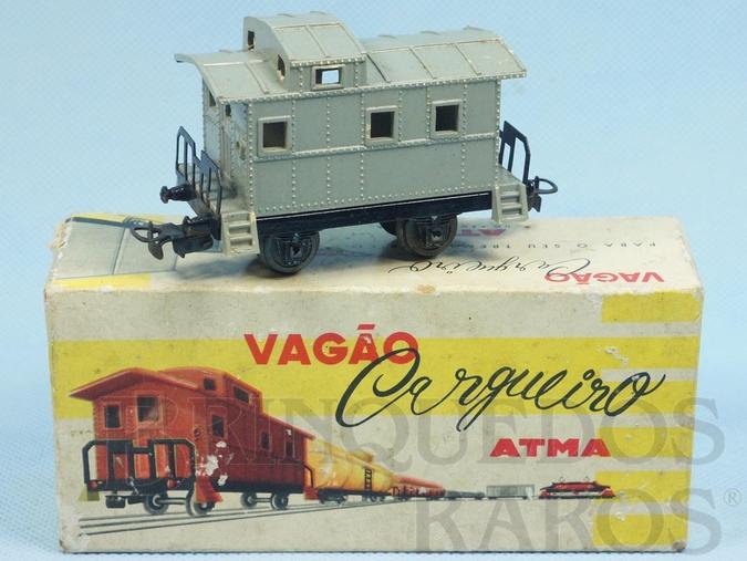 Brinquedo antigo Vagão Breque de dois eixos Corrente Alternada Atma Mirim Década de 1950