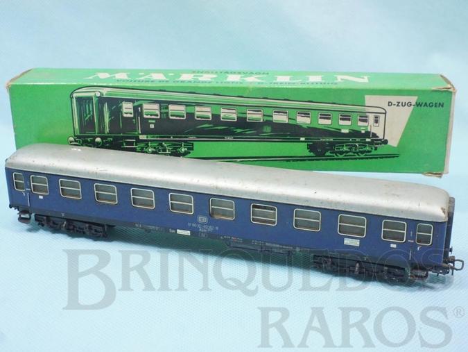Brinquedo antigo Vagão Carro de Passageiros DB azul número 4027 Década de 1960