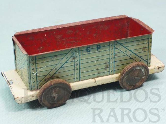 Brinquedo antigo Vagão Gôndola Azul Companhia Paulista de Estradas de Ferro com 14,00 cm de comprimento Ano 1937