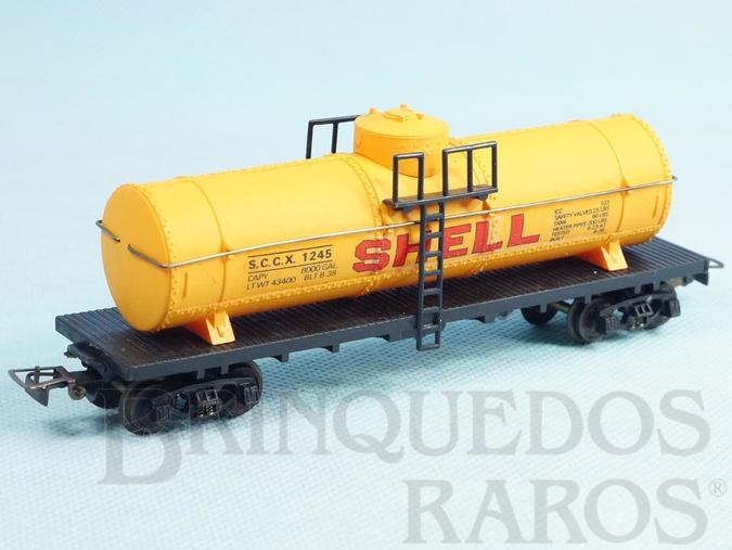 Brinquedo antigo Conjunto Santa Fé Vagão tanque Shell Década de 1980