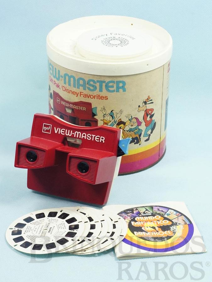 Brinquedo antigo Visor View Master com 7 discos da Disneylândia Gift Pak Disney Favorites Walt Disney Década de 1970