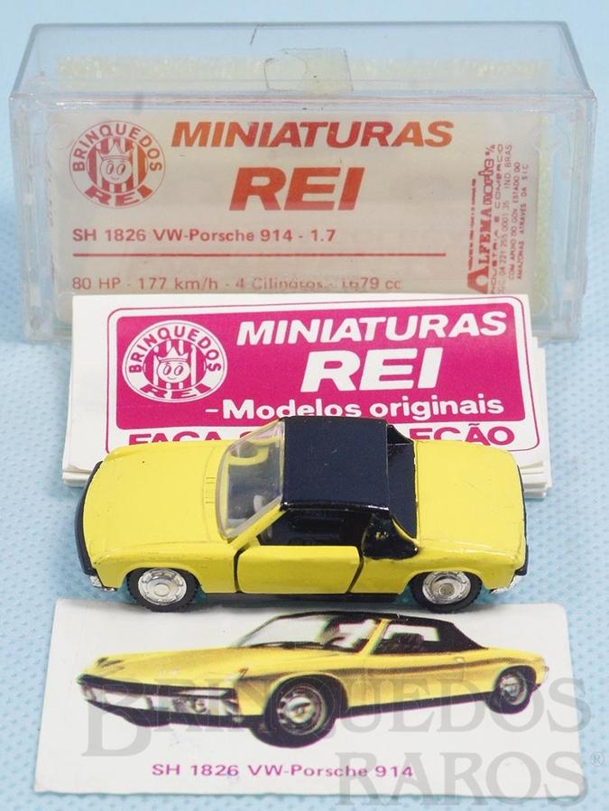 Brinquedo antigo Volkswagen Porsche Brasilianische Schuco Rei amarelo completo com Catálogo e Cromo