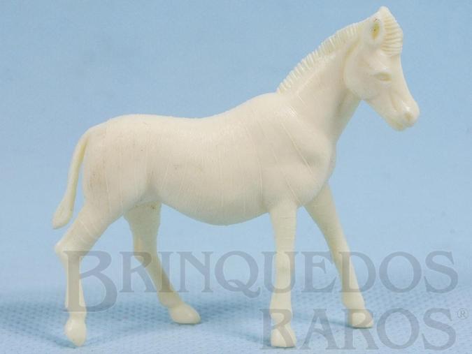 Brinquedo antigo Zebra de plástico branco Série Zoológico década de 1970